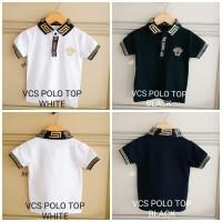BAJUKIDDIE VERSACE POLO TOP kaos anak polo branded import mewah KERAH - Size 10, Black