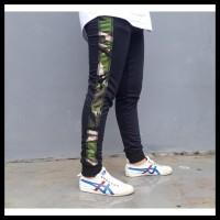 Zero One Store Celana Joger Panjang Hitam Stripe Army Hijau