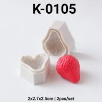 K-0105 Cetakan silikon puding coklat fondant buah strawberry stroberi