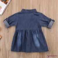 Dress Denim Casual Bayi / Anak Perempuan Lengan Panjang Lucu