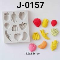 J-0157 Cetakan silikon puding coklat fondant buah pisang strawberry