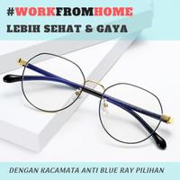 Frame Kacamata Anti Radiasi Smartphone / Blue Light HIGH QUALITY METAL - Hitam Gold