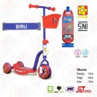 Scooter Anak PMB Merah Mainan Skuter Roda 3 Tiga Sensor Musik Lampu