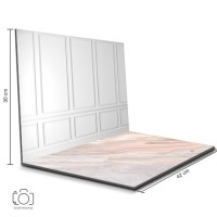 Alas Foto Lipat Dinding Putih & Marmer Pink / Background Foto (BL-19)