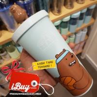 Miniso 640ml We Bare Bears Grizzly 3D Blue Botol Minum Tumbler Sedotan