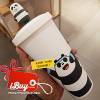 Miniso 640ml We Bare Bears Panpan 3D White Botol Minum Tumbler Sedotan