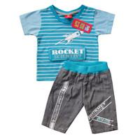 Setelan Baju Anak Laki laki 1 2 3 tahun Atasan Kaos Celana Katun Twill