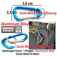 gantungan kunci mobil motor aluminium alloy biru muda pakai pengait
