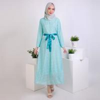 Long dress Gamis maxi Brukat model terbaru - JFSH Batinah - Biru
