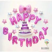 SET Balon Foil Happy birthday Cake / Kue Ulang Tahun / Little Lady