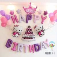 SET Balon Foil Happy Birthday Hello Kitty / Ulang Tahun