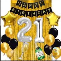 SET Balon Foil Happy Birthday Black&Silver&Gold / Ulang Tahun