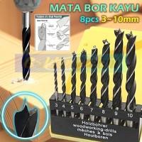Set 8pcs Mata Bor Kayu Wood Drill Bits 3 Brad Point Titik 3-10mm PVC