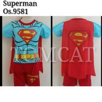 Setelan Anak Laki-Laki Pendek Superman Biru Sayap Baju Kaos Superhero - A 9581, 4