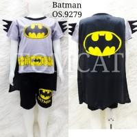 Setelan Anak Laki-Laki Pendek Batman Duri Sayap Baju Kaos Superhero