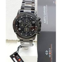 Hegner 1656 cr fullblack chronograph jam tangan pria original
