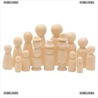 HOMELIVING 10pcs/set Kits Peg Dolls Unfinished Wooden People Craft