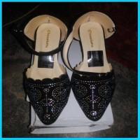 sepatu pesta wanita hak tinggi high heels mote black diamond hitam wom