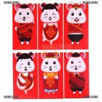 6Pcs / Set Amplop Angpao Tahun Baru Imlek Warna Merah