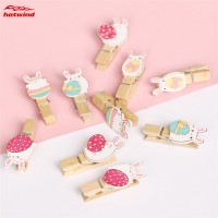 HW 10pcs Wooden Pegs with Linen Rope Lovely Rabbit Photo Paper Peg