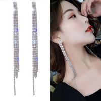 Earrings Silver Needle Super Flash Rhinestone Long Tassel 039B3Fr
