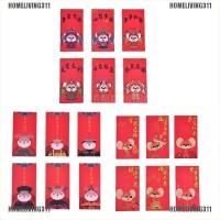 6Pcs / Set Amplop Angpao Tahun Baru Imlek Gambar Kartun Warna Merah