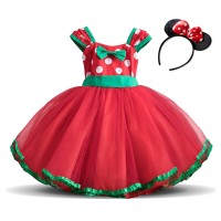 Baju Anak Baby Girl Christmas Party Minnie Dress Princess Polka Dots K