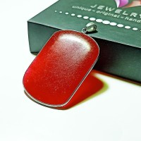 Liontin Batu Giok Kotak - Kalung Terapi Kesehatan - Cokelat