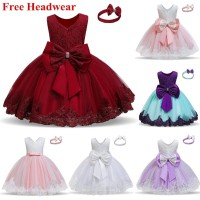 Baju Anak Girls Dress Christmas New Year Princess Girl Clothes Bowknot