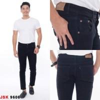 Celana Panjang Stretch Skinny Pensil Jeans Modis Cowok Pria JSK JEANS - Hitam, 28