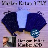 MASKER KAIN KATUN 3PLY DENGAN FILTER MASKER APD ANTIVIRUS PREMIUM!!!