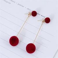 Anting Luxury Pom Pom Fluffy Ball Drop Earring - Merah