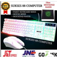 PAKET KEYBOARD GAMING + MOUSE GAMING USB MIXIE X90A /1 SET/KABEL/WIRED - Putih