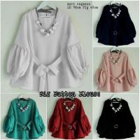 chm Big Button tunik blouse atasan top pakaian muslim wanita