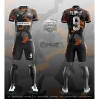 Jersey Futsal Full Print (Kode Army Orange)-Desain Bebas