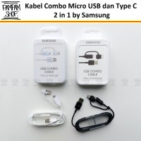 Kabel Data Samsung Combo 2 in 1 Micro USB Type C Fast Charging Ori