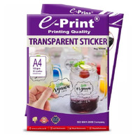 Kertas Sticker Eprint Transparant Sticker A4 150gsm 10Sheet