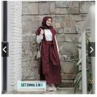 set emma 3 in 1 pakaian muslim baju gamis pakaian wanita