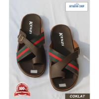 Sandal Jepit Kenzi/ Model Terbaru/ Fashion Pria Semi Kulit - Coklat