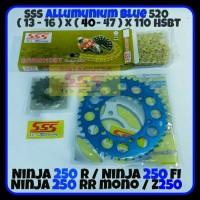GEAR SET SSS 520 NINJA 250 R FI RR MONO Z250 ALLOY BLUE RANTAI HSBT