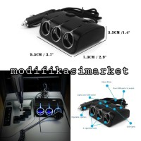 Charger 3 Way Car Splitter 3 Socket 2 Usb Dc 12v24v With Led