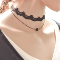 Kalung Choker Lace Hitam Aksen Manik-Manik Mutiara Ala Korea untuk