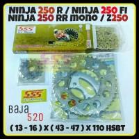 GEAR SET SSS 520 NINJA 250 R FI RR MONO Z250 RANTAI HSBT