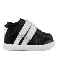 Sepatu Anak cowok umur 1 2 TAHUN velcro antislip hitam putih