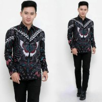 Kemeja Batik Pria Lengan Panjang Motif Kupu Abu