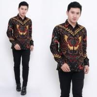 Kemeja Batik Pria Lengan Panjang Motif Kupu Sogan