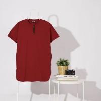 Kaos Gamis Pria Merah size M, L, XL Zipper