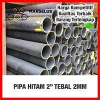 "PIPA Hitam BS 2""/2inch medium tbl 2mm (black steel) besi"
