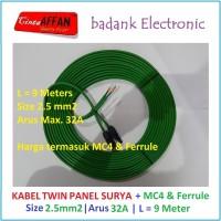 Kabel Twin Panel Surya 2.5 mm2 L = 9 meter + Konektor MC4 & Ferrules