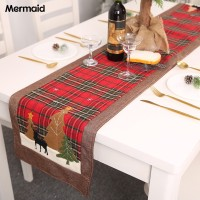 Microgood Christmas Tree Elk Printed Lattice Tablecloth Table Mat